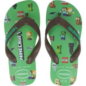 Havaianas Minecraft Kids Green Flip Flops